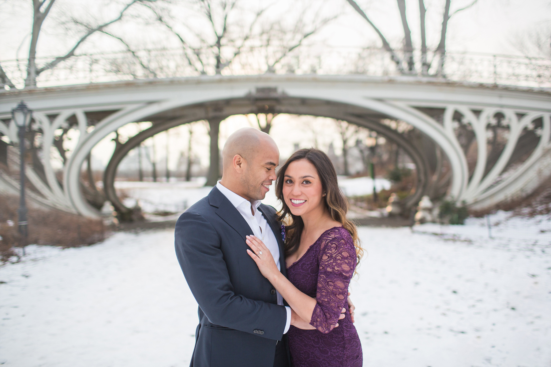 central park winter engagement photos