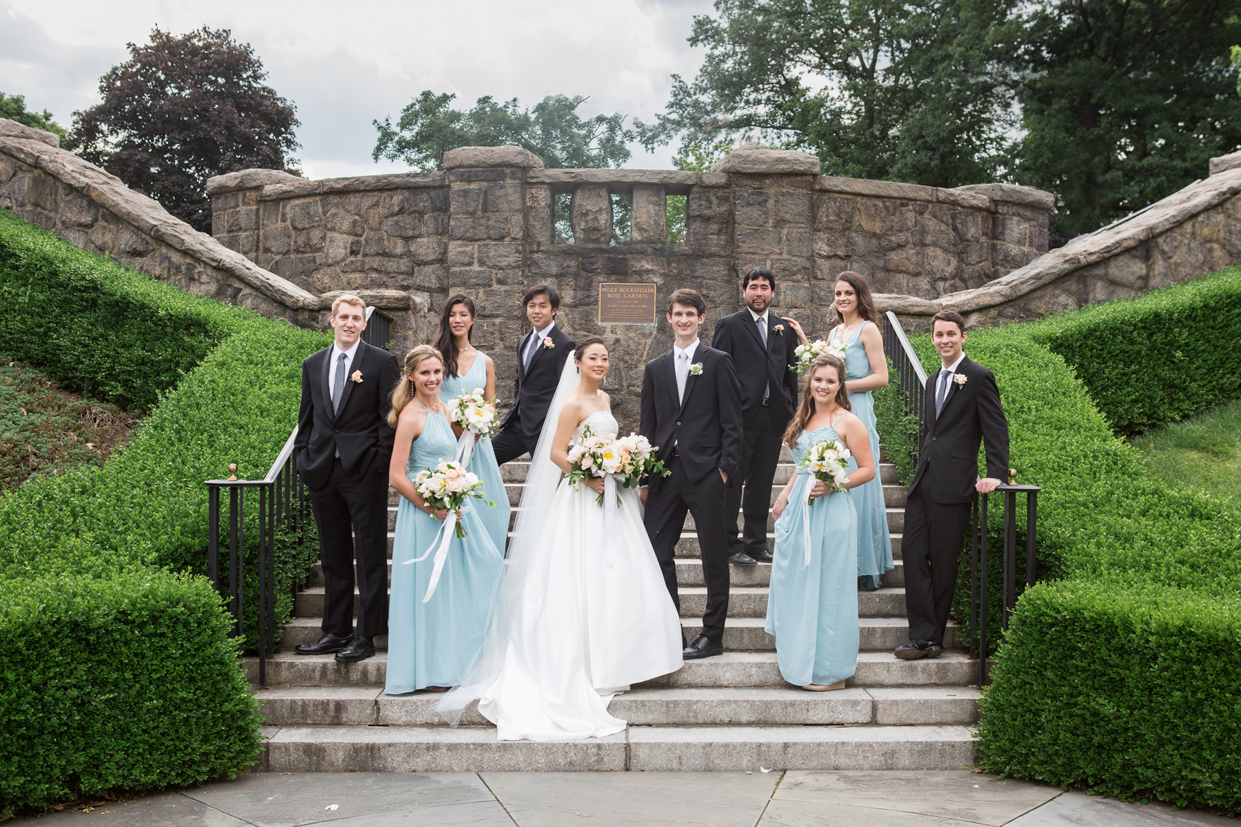 bridal party portrait at rose garden at nybg